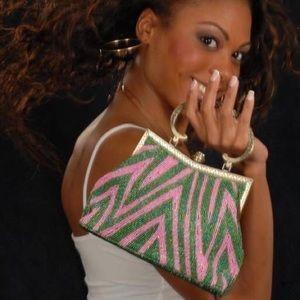 Salmon pink and candy apple green beaded handbag